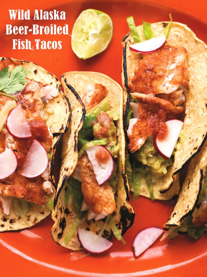 Wild Alaska Beer-Broiled Fish Tacos Recipe (dairy-free, gluten-free option)