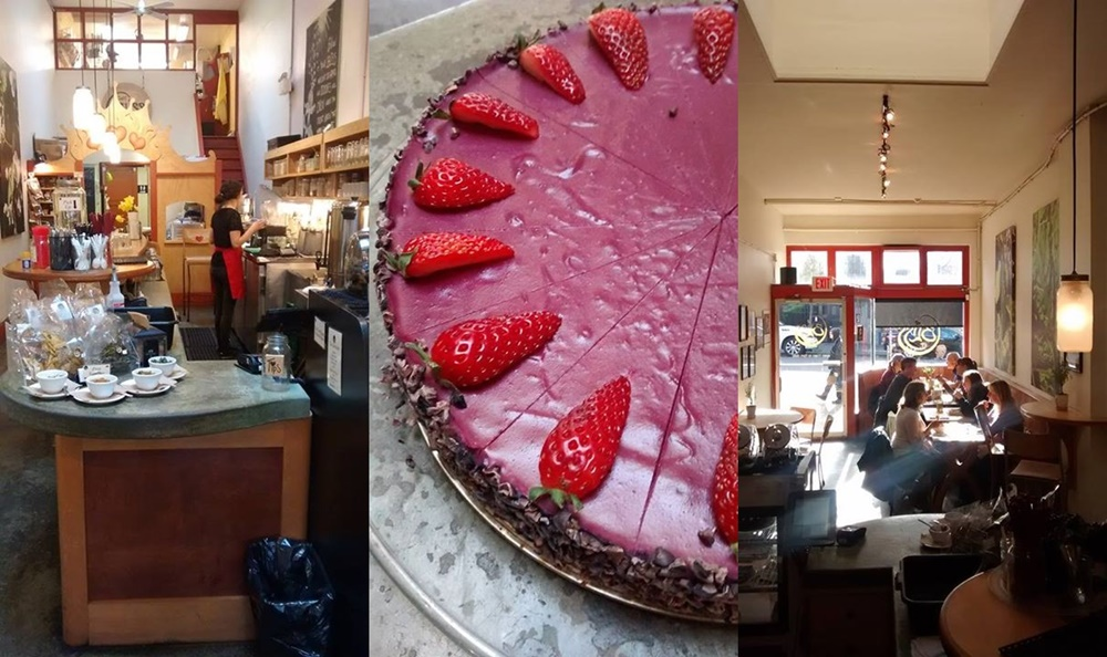 Cafe Bliss in Victoria, BC is an Organic Live Food Juice Bar with tons of wholesome options and cakes, too! Dairy-free, gluten-free, mostly vegan.