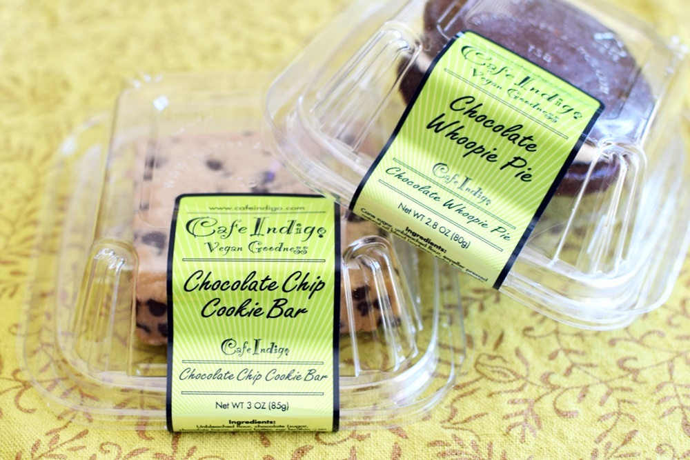 Cafe Indigo Vegan Goodness Cookie Desserts - Hello Whoopie Pie and To Die For Cookie Bar Indulgences! Unbelievably dairy-free and vegan.