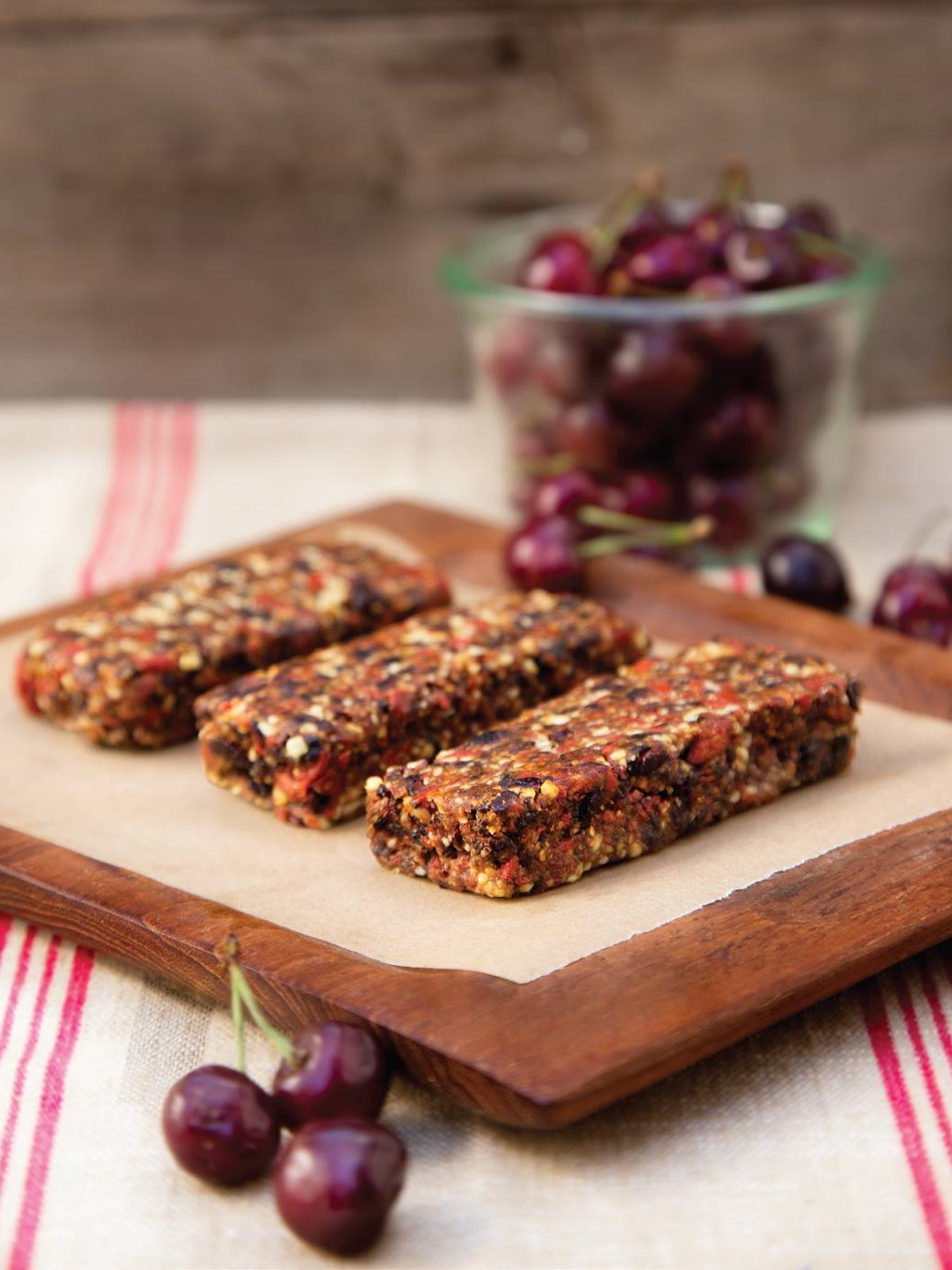 Raw Superfood Energy Bars - Naturally vegan, gluten-free, dairy-free and paleo, these sweet, healthy bars are rich with antioxidants and spiked with three sweet soulmates: cherries, goji berries and cacao.