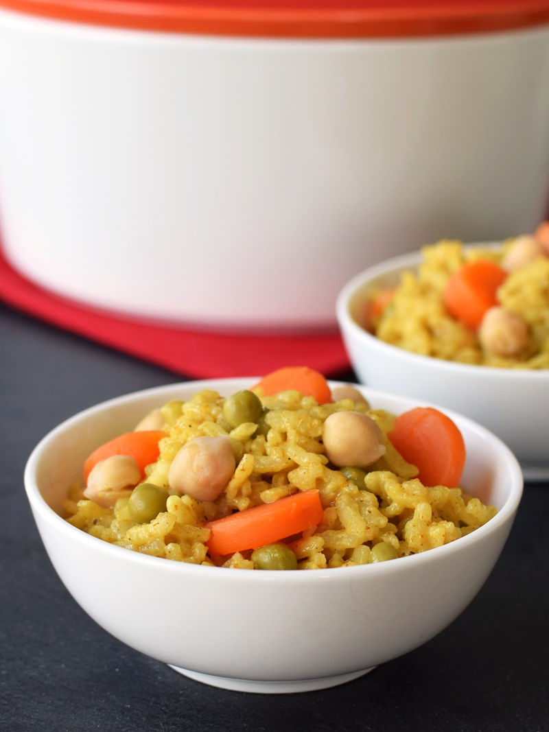 Creamy Baked Curry Risotto - Easy, One Pot, No-Stir Pantry Recipe! You won't believe the spot on results or that it's naturally dairy-free, gluten-free, vegan and top food allergy-friendly.