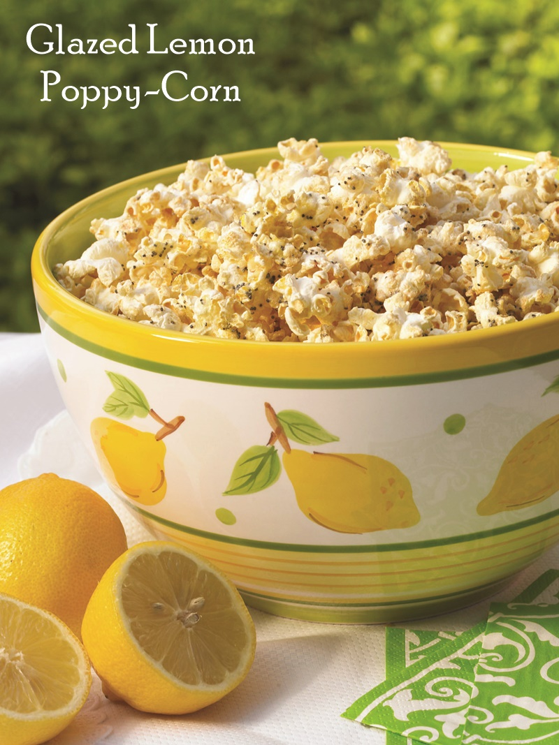 Lemon Poppy Seed Glazed Popcorn - Easy, Flavorful, Bright Recipe that's also Lowfat, Dairy-Free, Gluten-Free and Nut-Free!