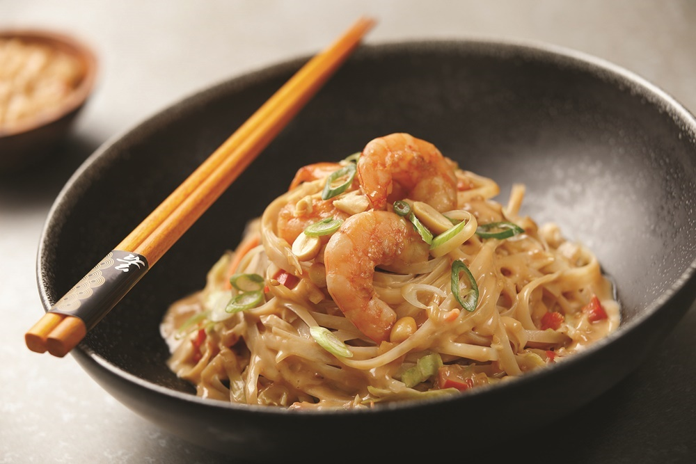 Peanut Butter Ramen with Spicy Orange Shrimp - an amazing award-winning, Asian-style recipe with a creamy sauce and ample flavor. Gluten-free optional.