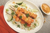 Spicy Peanut Butter Glazed Salmon Skewers with Warm Rice Slaw