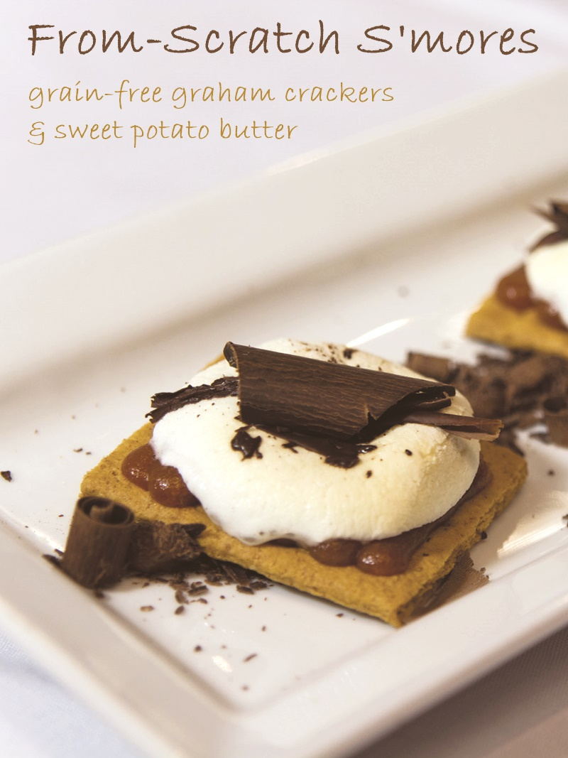 This Homemade Sweet Potato S'mores Recipe comes complete with healthy grain-free graham crackers (optionally vegan) and an easy dairy-free sweet potato butter. The whole recipe is gluten-free and perfect for enjoying year round!