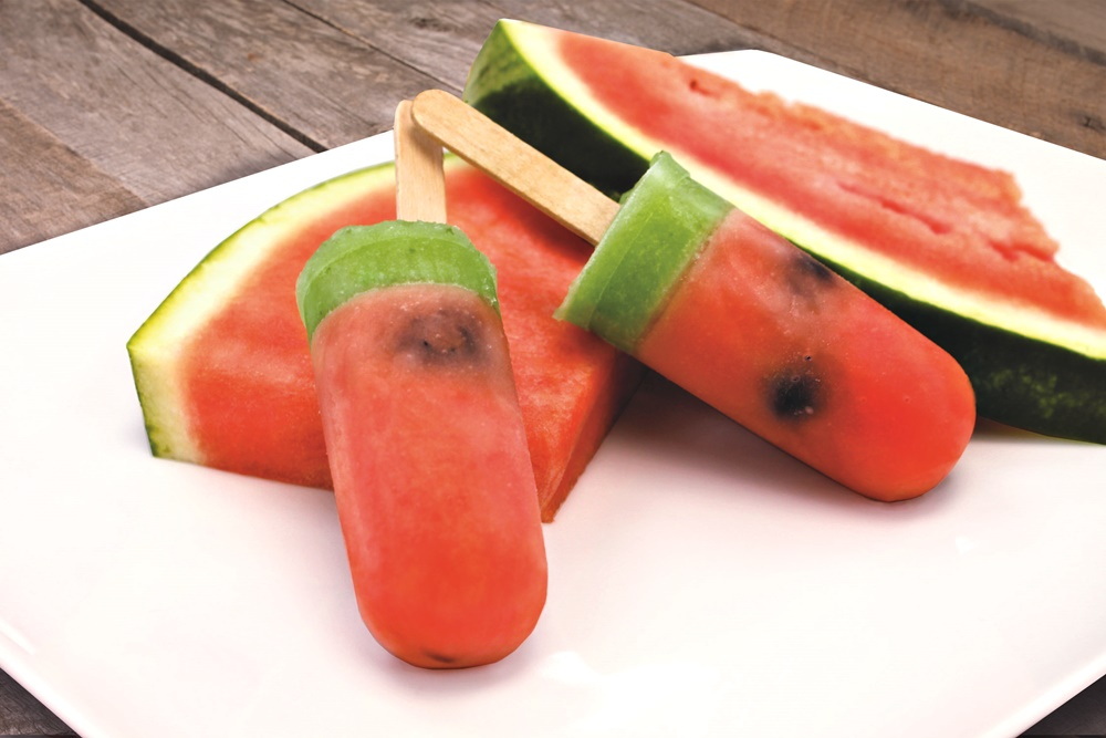 These whimsical watermelon popsicles have a cool lime and cucumber