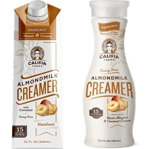 Califia Farms Almond Milk Creamer Reviews and Info - dairy-free, gluten-free, vegan, available in shelf-stable cartons and refrigerated bottles. Pictured: Hazelnut