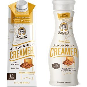 Califia Farms Almond Milk Creamer Reviews and Info - dairy-free, gluten-free, vegan, available in shelf-stable cartons and refrigerated bottles. Pictured: Pecan Caramel