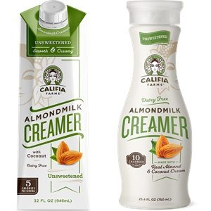 Califia Farms Almond Milk Creamer Reviews and Info - dairy-free, gluten-free, vegan, available in shelf-stable cartons and refrigerated bottles. Pictured: Unsweetened Original