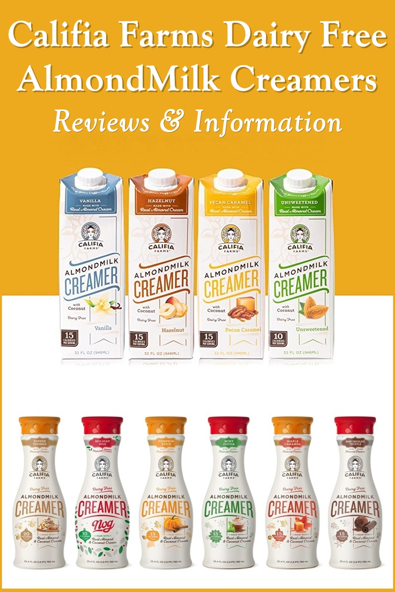 Califia Farms Almond Milk Creamer Reviews and Info - dairy-free, gluten-free, vegan, available in shelf-stable cartons and refrigerated bottles