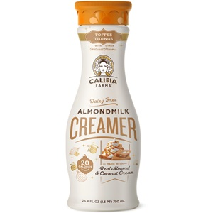 Califia Farms Almondmilk Creamer Reviews and Info - Several Fall, Winter, Holiday Flavors! - All vegan, dairy-free, and soy-free.