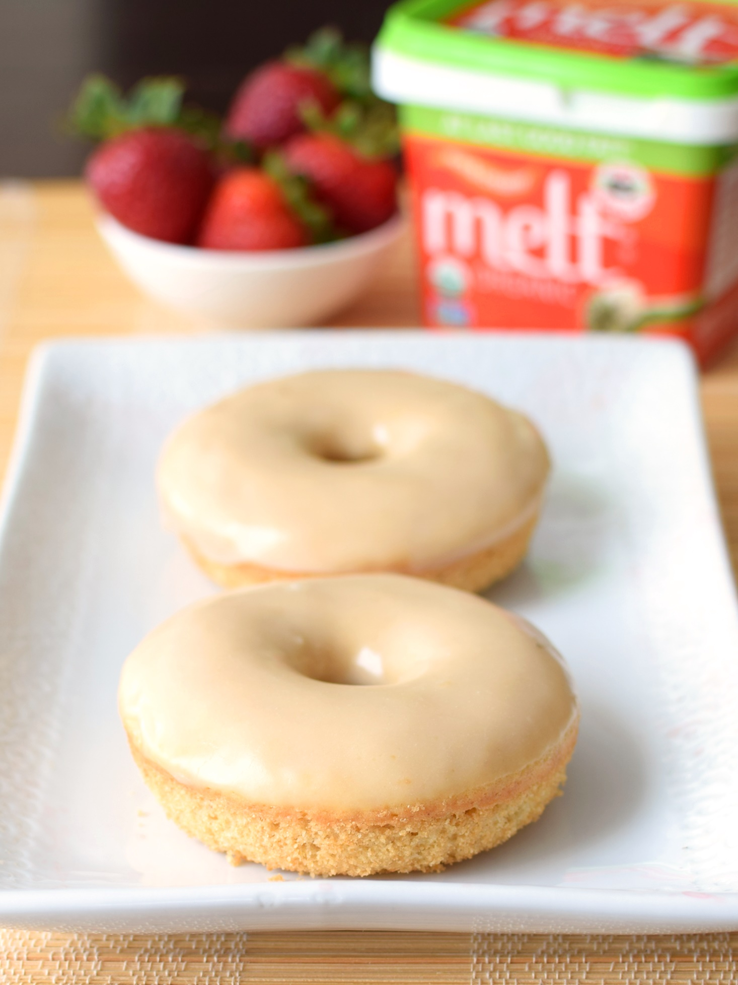Glazed Dairy-Free Cake Donuts from my Strawberry Shortcake Donuts Recipe - Delicious, quick, whole grain cake donuts!