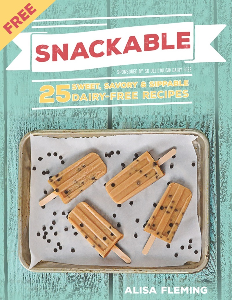 Snackable eCookbook now FREE on most major platforms (Kindle, iTunes, Kobo, and via PDF for desktop!). The delicious healthy recipes are naturally dairy-free, gluten-free, vegan and allergy-friendly for all to enjoy! (Cover Recipe: Chocolate Chip Cookie Dough Popsicles)