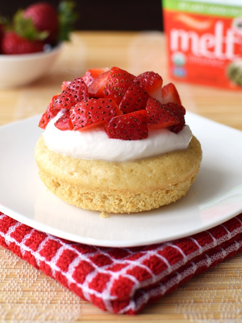 Strawberry Shortcake Donuts (Baked Recipe!) - Delicious, quick, whole grain cake donuts with easy homemade dairy-free whip and fresh strawberries.