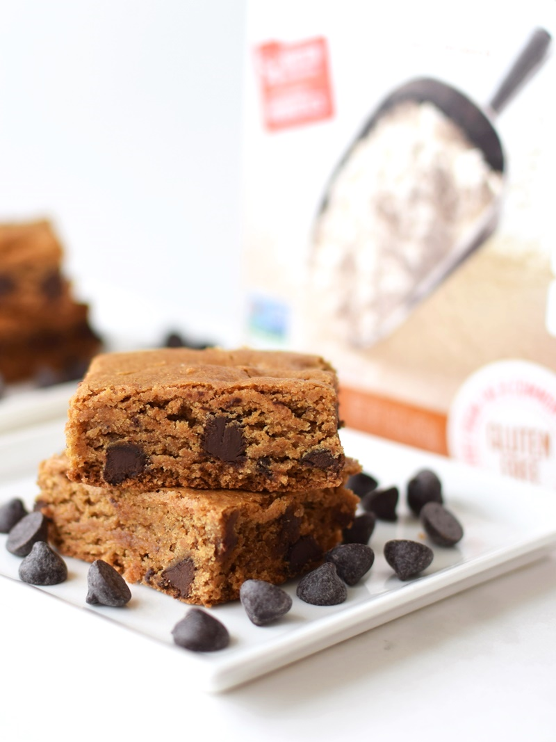 Wholesome Chocolate Chip Cookie Bars - Gluten-Free, Dairy-Free, Vegan, and Free of Top Allergens. They're also made without refined sweeteners and with ancient grains!