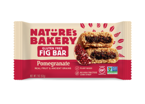 Nature's Bakery Gluten-Free Fig Bars Reviews and Info - Dairy-free, gluten-free, vegan, nut-free, soy-free, 4 fruit flavors. Pictured: Pomegranate