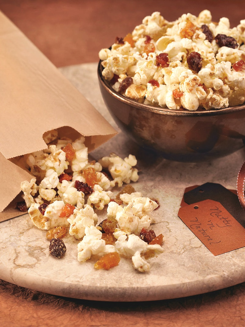 Naturally Nutty Popcorn Snack with Dried Fruit - easy but unique infusion of healthy ingredients. Vegan, optionally gluten-free recipe.
