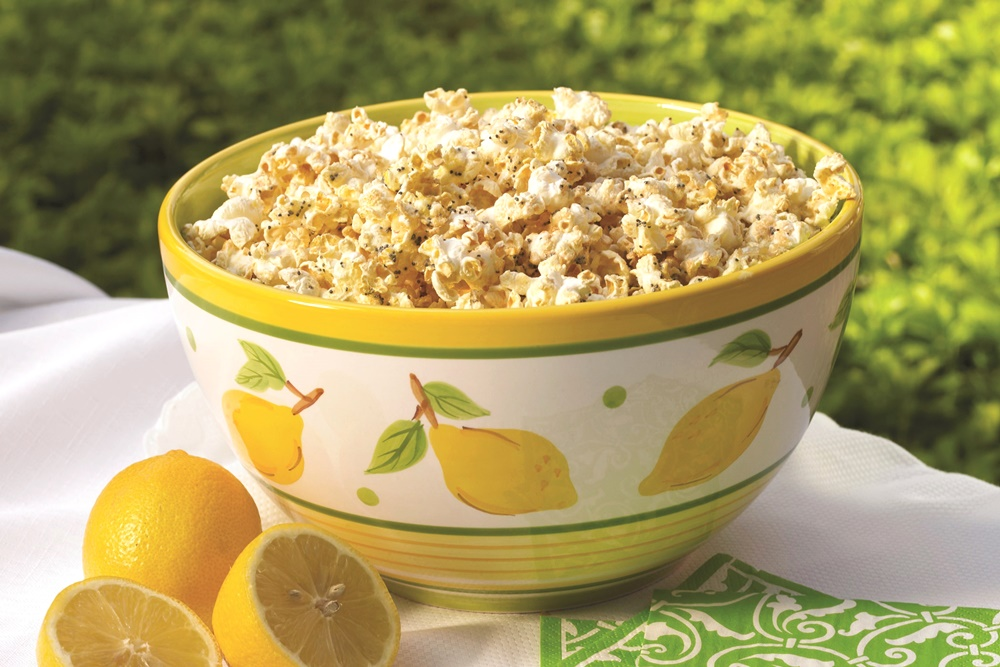 Lemon Poppy Seed Glazed Popcorn - Easy, Flavorful, Bright Recipe that's also Lowfat, Dairy-Free & Gluten-Free!