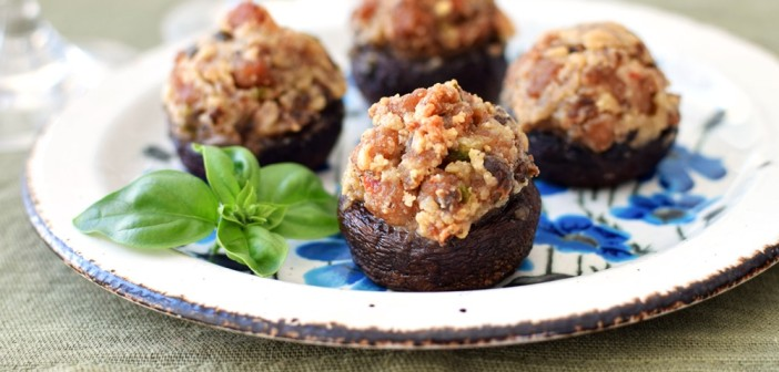 Rich Italian Paleo Stuffed Mushrooms - made healthier with gluten-free chicken sausage, yet luxurious with dairy-free nut cream, these will impress ALL of your guests. They've been served at many parties and raved about by all.