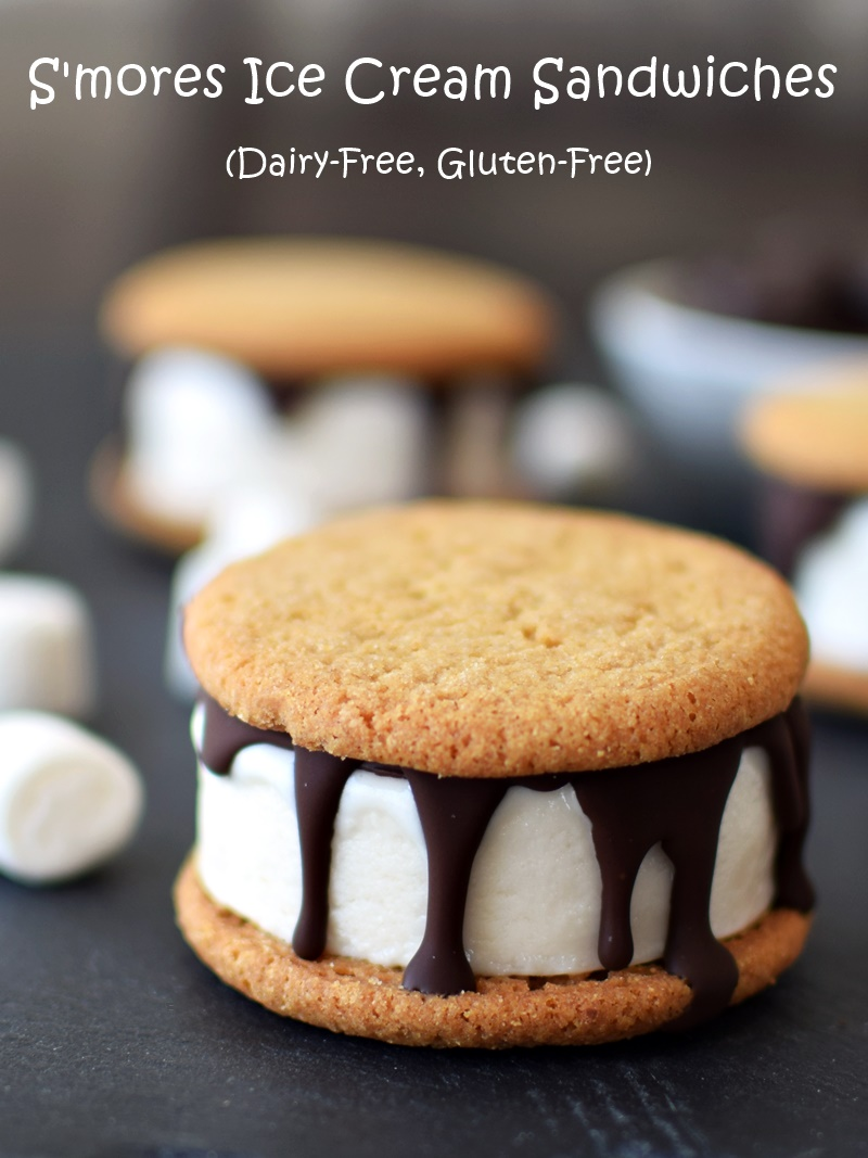 S'more Ice Cream Sandwiches - complete with homemade dairy-free marshmallow ice cream. The recipe is even gluten-free, top food allergy-friendly and vegan optional.