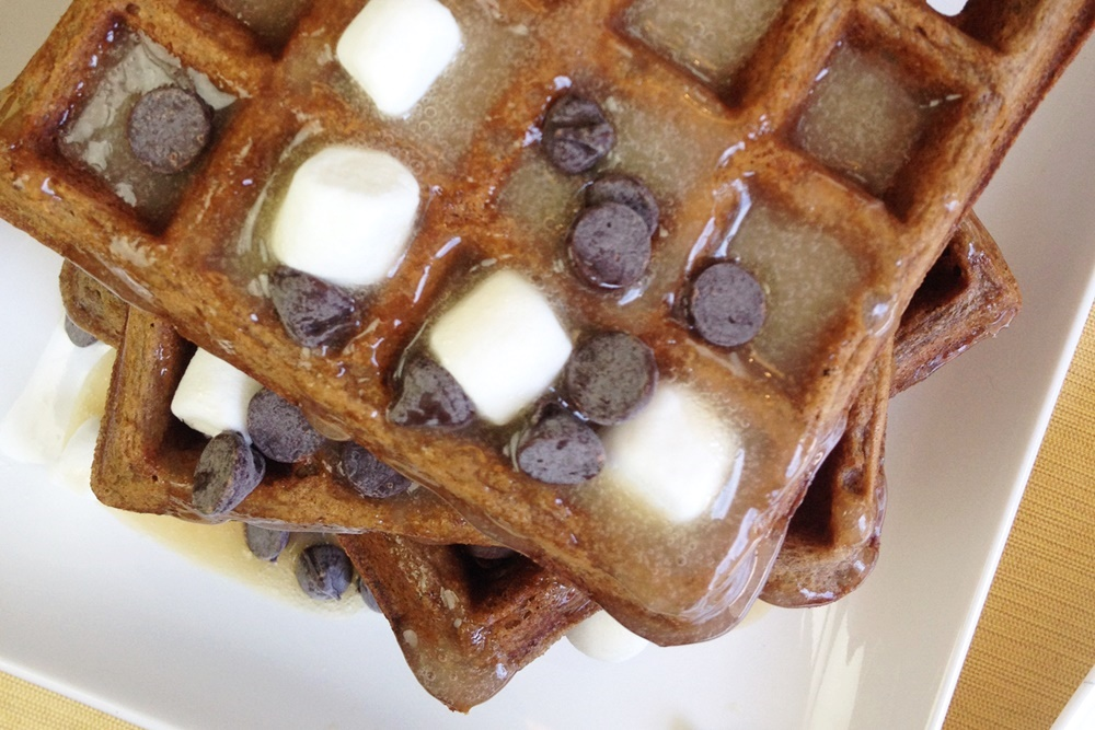 mores Waffles with Marshmallow Maple Syrup Recipe
