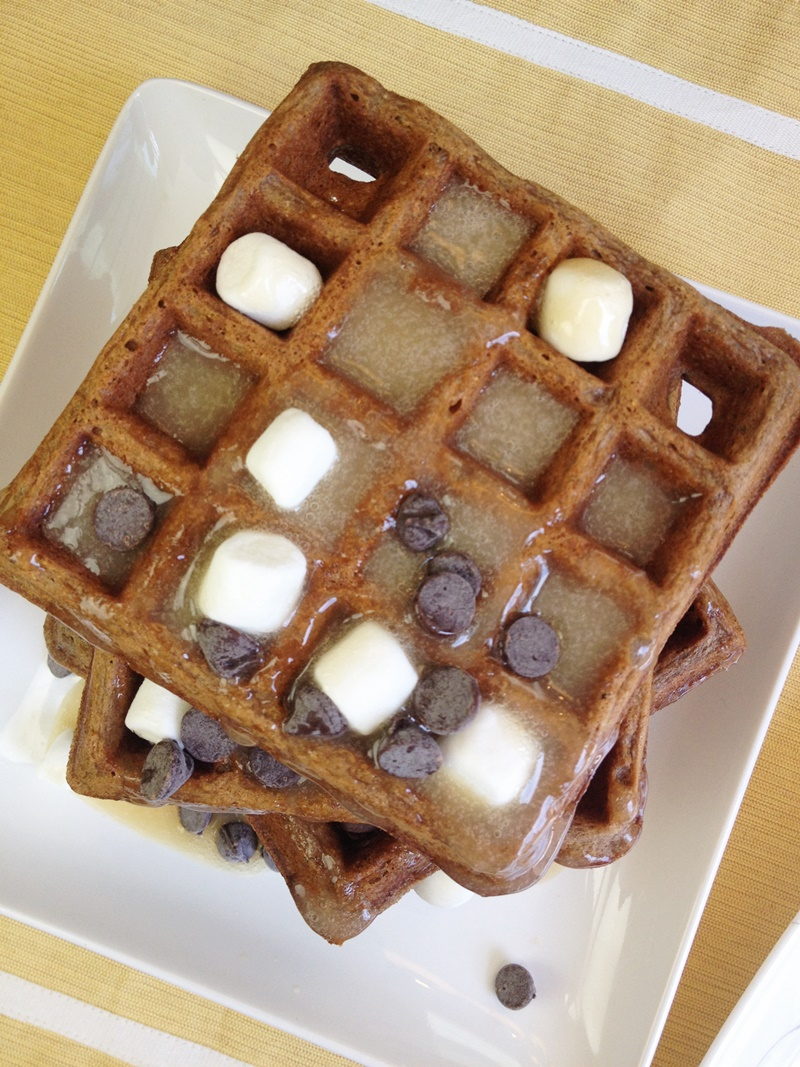 S'mores Waffles! Crisp-tender graham waffles topped with Marshmallow Maple Syrup and Chocolate Chips. The recipe is surprisingly dairy-free & nut-free, too!