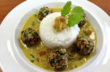 Vegan Indian Meatballs with Coconut Curry Sauce and Lemon-Scented Basmati Rice (Dairy-Free Recipe)