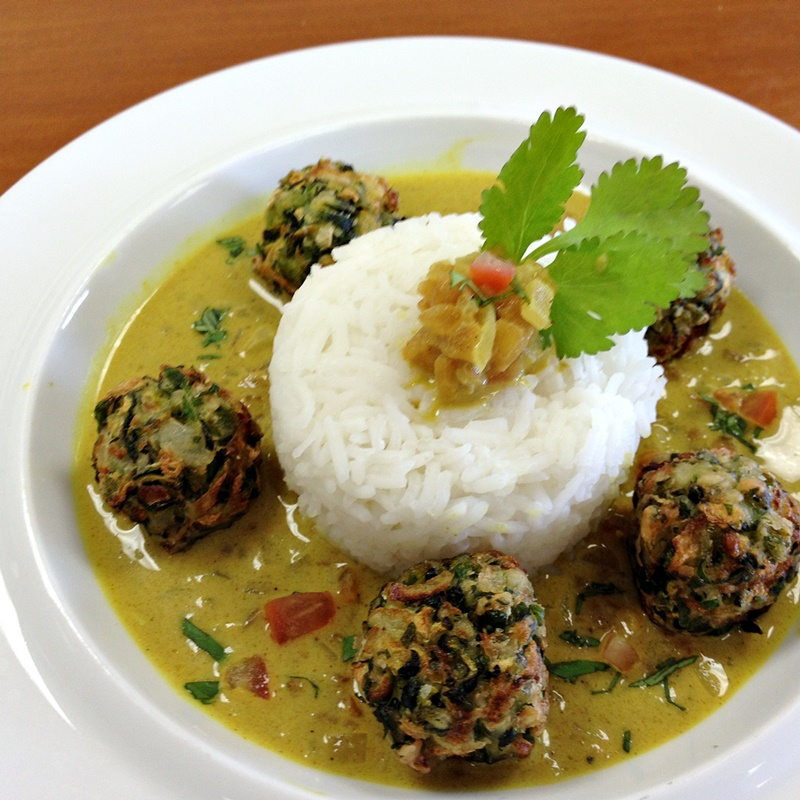 """Veggie-Loaded Vegan Indian """"Meatballs"""" with Coconut Curry Sauce and Lemon-Scented Basmati Rice Recipe - yes, it's three flavorful dairy-free recipes in one!"""