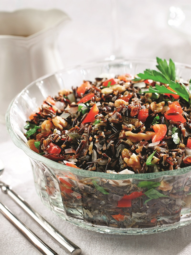 Fiesta Wild Rice Recipe - the perfect healthy, whole grain side for dressing up your holiday or New Year's eve table (vegan and gluten-free)
