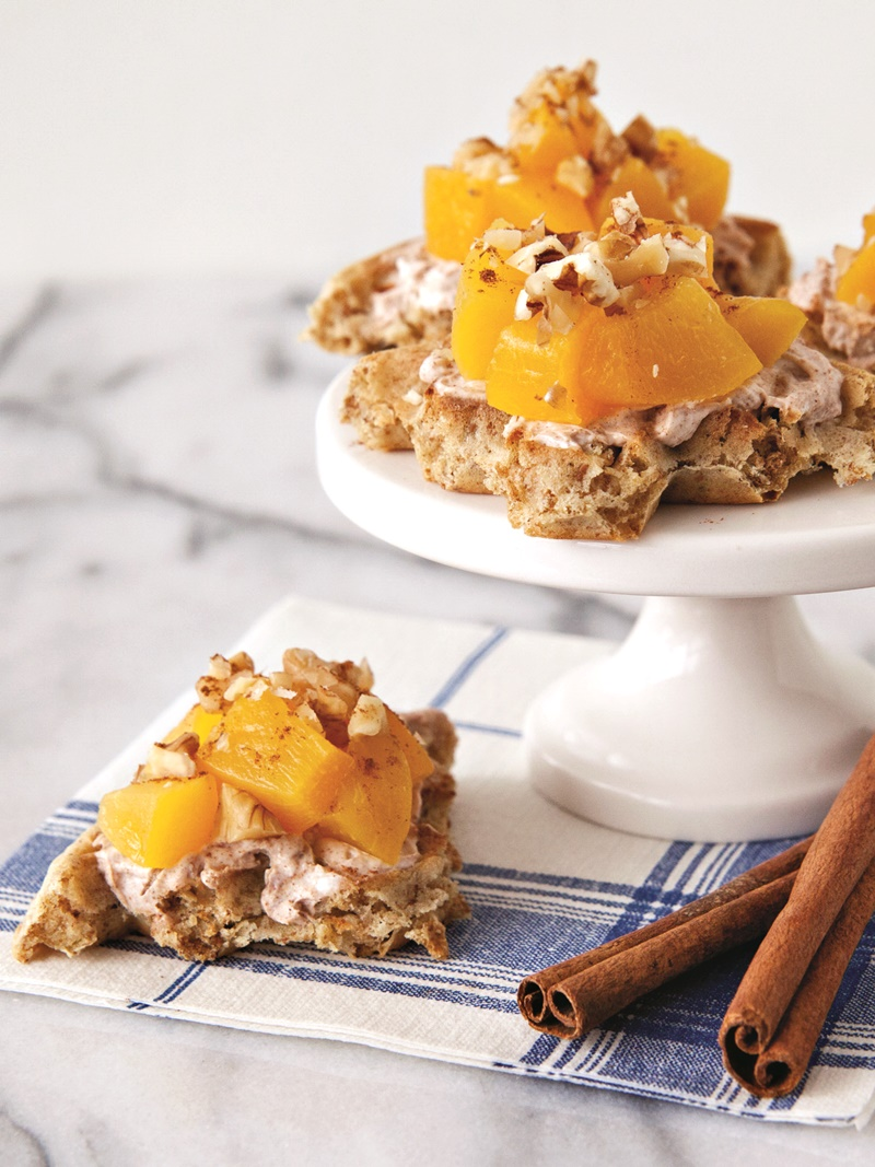 Peaches and Cream Waffle Bites Recipe - an easy fun breakfast or healthy snack; dairy-free, vegan, gluten-free optional.