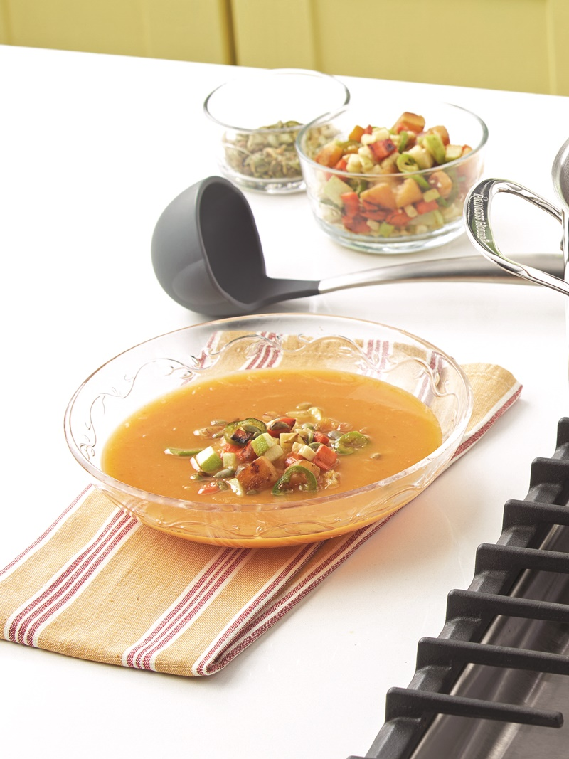 Mexican Butternut Squash Soup with Charred Vegetables by Chopped champion, Chef Katsuji Tanabe. A naturally dairy-free, gluten-free, vegan recipe.
