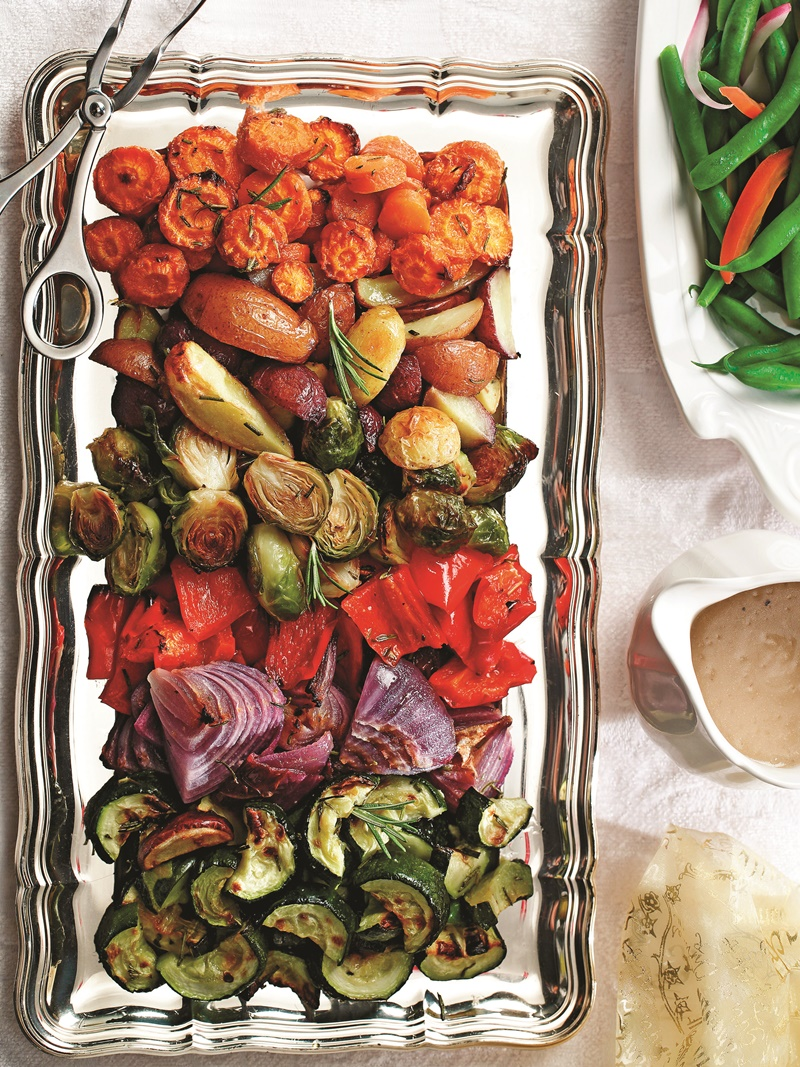 22 Healthy Winter Recipes (all dairy-free!) - Roasted Winter Veggies and Tri-Color Potatoes pictured