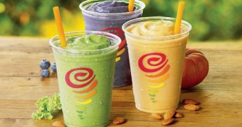 Jamba Juice Launches into the Dairy-Free Industry with New Almond Milk Smoothies! (pictured: Matcha Green Tea, PB & Berries, and Pumpkin)