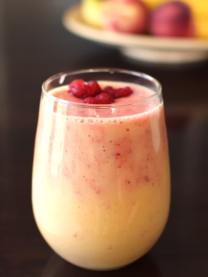 Peach Melba Sunset Smoothie Recipe: Cool, creamy, nutritious, dairy-free and vegan blend.