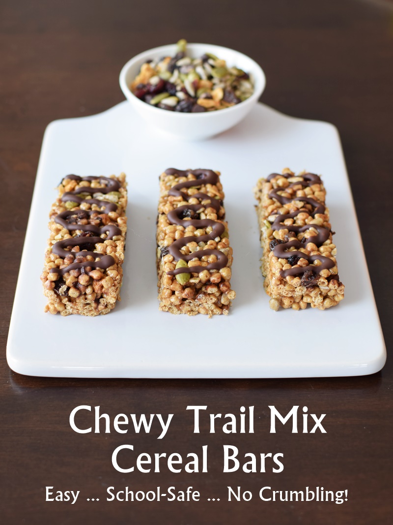 Super-Friendly Trail Mix Cereal Bars - Easy, Crispy, Chewy, Sweet, and Safe! Perfect for sharing as they're top allergen-free, gluten-free, loved by kids and adults, and vegan optional.