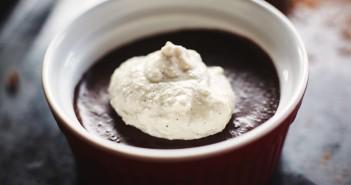 Vegan Salt Chocolate Pot de Creme with Vanilla Bean Cashew Cream