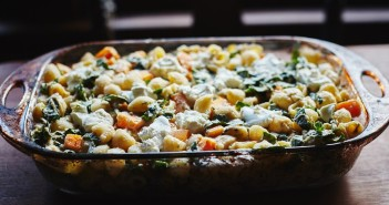 Warm Butternut Squash and Kale Pasta Salad with Roasted Cauliflower-White Bean Sauce