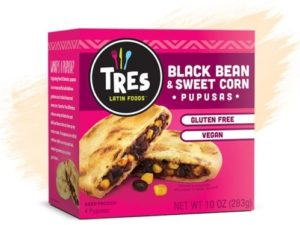 Tres Pupusas Reviews & Info (Dairy-Free Varieties) – These are Salvadorian Stuffed Corn Flatbreads from the Freezer. Pictured: Vegan Black Bean and Sweet Corn