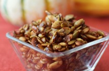 Spiced Maple Pumpkin Seeds - a simple, flavorful paleo and dairy-free recipe for using up leftover pumpkin seeds! Eat them straight, top a salad, or mix with dairy-free yogurt.