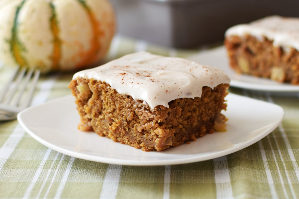 Pumpkin Apple Pie Cake with Dairy-Free Cream Cheese Frosting Recipe - this delightful autumn snack cake is amazingly gluten-free, vegan and free of top allergens!