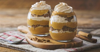 Vegan Pumpkin Spice Parfaits Recipe - Amazing layers of dairy-free spiced pumpkin mousse, coconut whip and gluten-free granola.