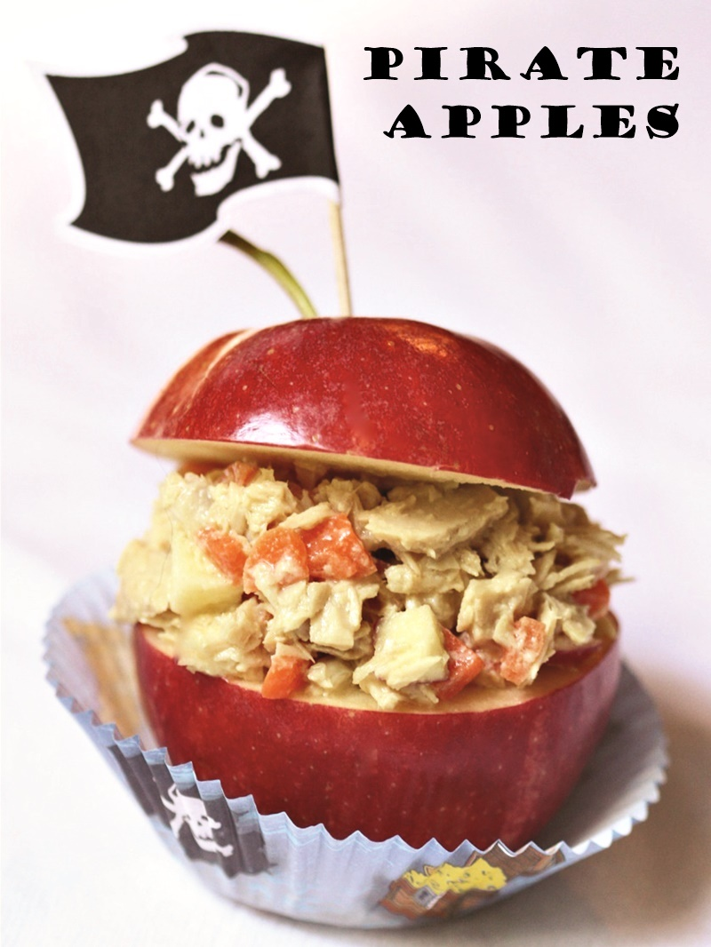 Three Kid-Friendly Apple Recipes for Snacks or Lunchboxes - dairy-free + gluten-free (Apple Kabobs, Apple Bagels, Pirate Apples)