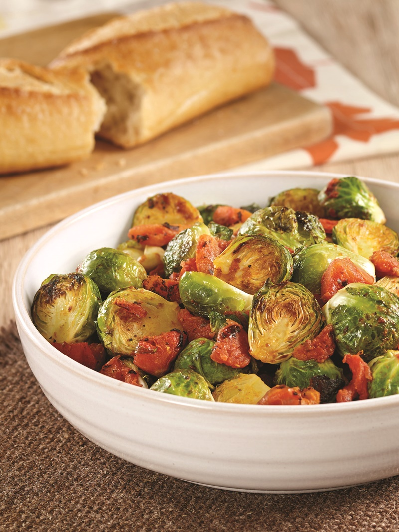 Fire Roasted Tomatoes and Brussels Sprouts recipe - easy, naturally vegan, gluten-free and allergy-friendly side dish for holidays or a simple weeknight meal.