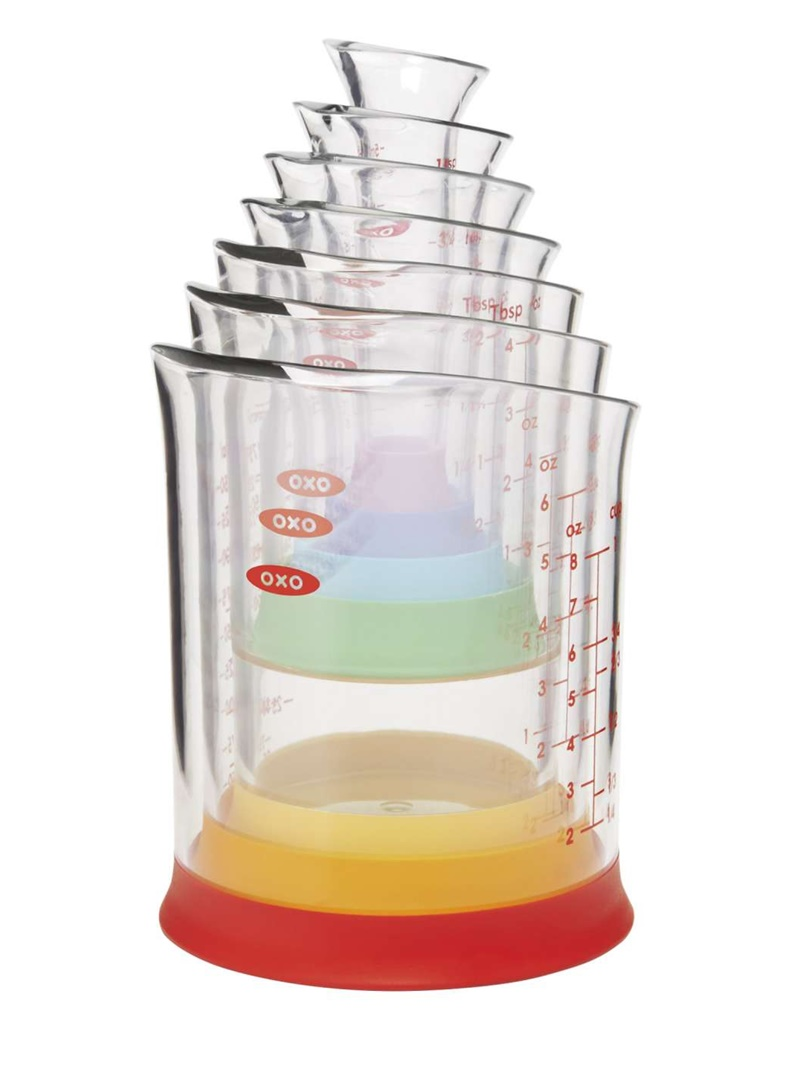 Twelve Awesome Kitchen Gifts that will actually get used! Perfect for any foodie on your list. Pictured: OXO Beaker Measuring Set (with Imperial & Metric measurements)