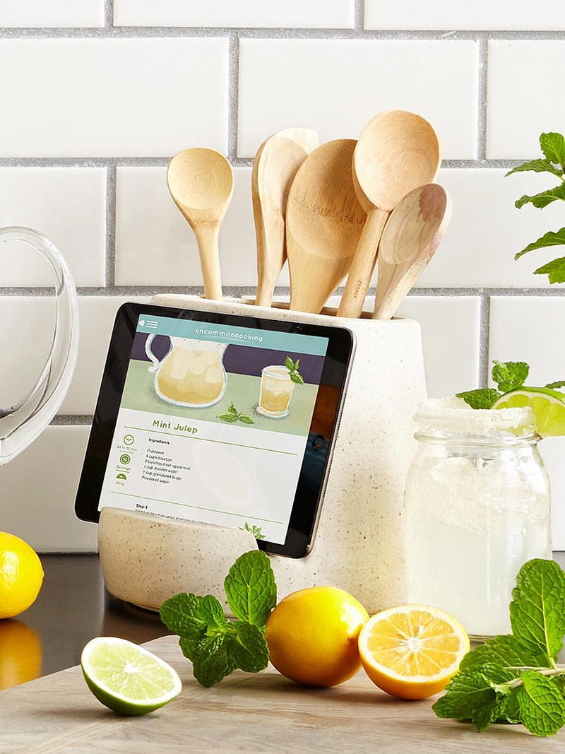 Twelve Awesome Kitchen Gifts that will actually get used! Perfect for any foodie on your list. Pictured: Geyman-designed Tablet and Utensil Holder