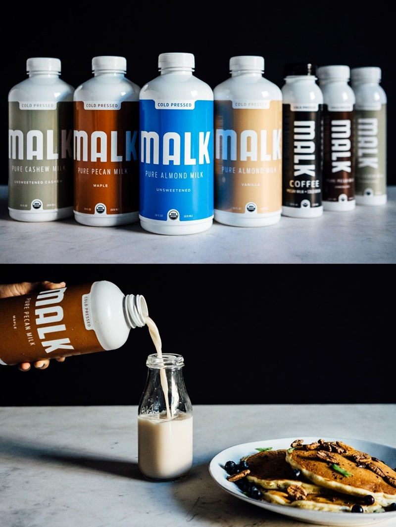 Malk Pure Nut Milks: Organic, Artisan and Oh-So-Clean! The line-up includes dairy-free almond, pecan, and cashew milks, all vegan, paleo and made without carrageenan, gums, fortification or any additives!