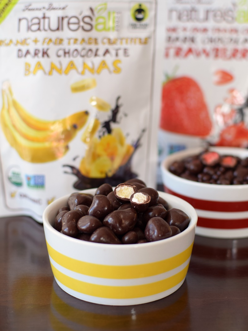 Nature's All Dark Chocolate Covered Fruit made with freeze-dried fruit and pure, organic, fair trade chocolate - So unique! Dairy-free and vegan.
