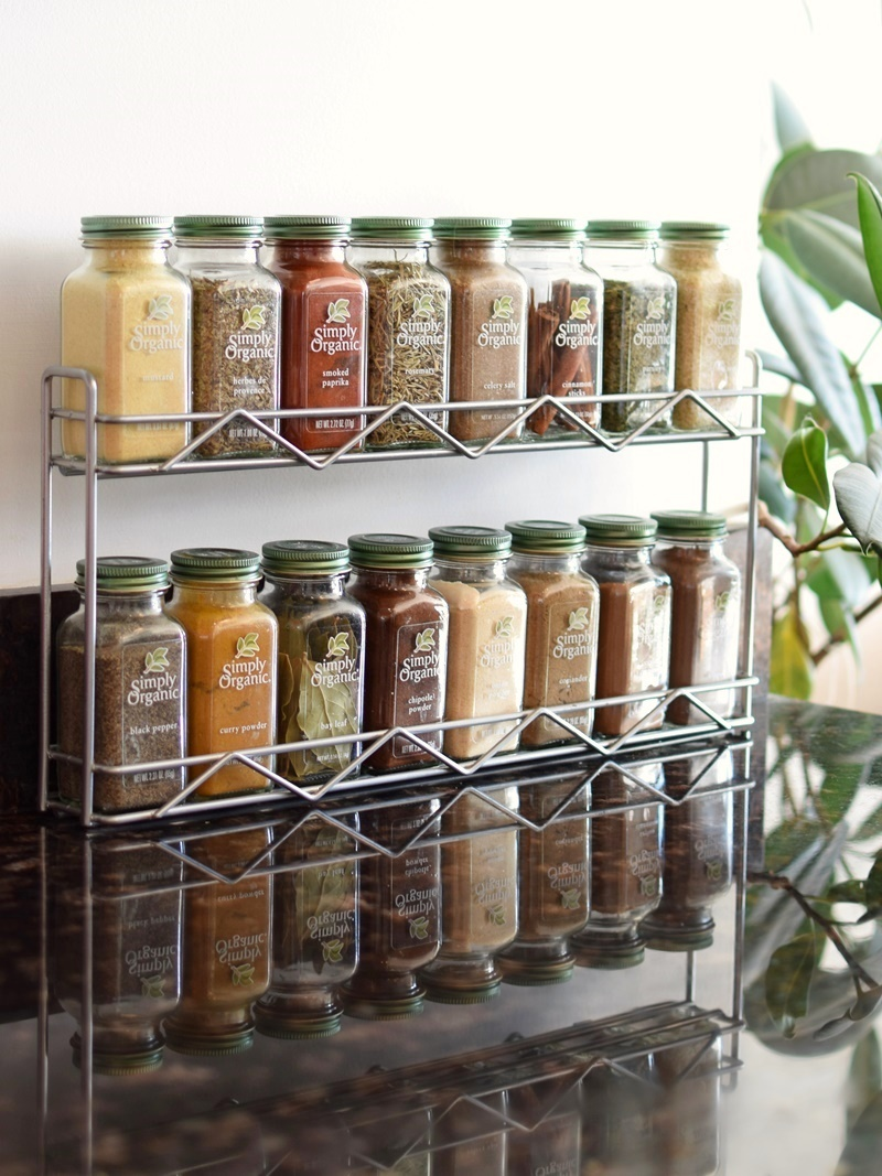 Twelve Awesome Kitchen Gifts that will actually get used! Perfect for any foodie on your list. Pictured: Simply Organic Spice Rack (pre-filled or get the rack and pick your own spices!)