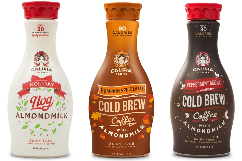 Dairy-Free Holiday Beverages: A Big Round-Up of Vegan Nog, Pumpkin, and Chocolate Mint Drinks (Califia Farms pictured)