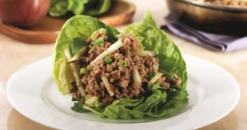 Asian Chicken Lettuce Wraps Recipe with Crunchy Pears by Ellie Krieger (dairy-free, gluten-free optional)